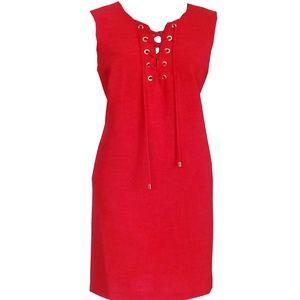 Sandra Darren-Textured Lace-Up Wear to Work Dress